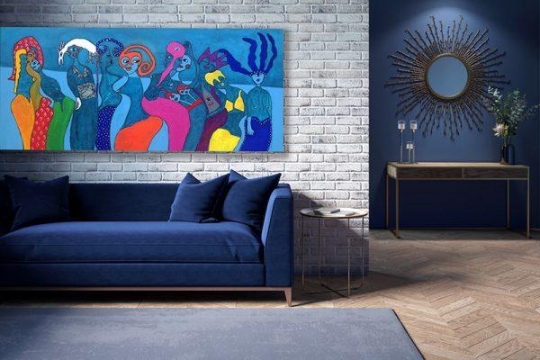 The interior of a modern living room with a dark blue sofa next