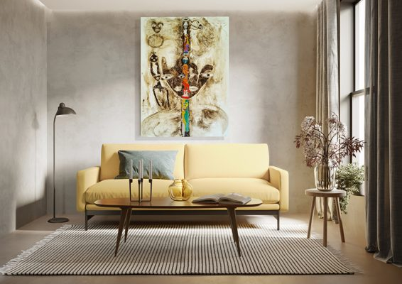 3d render of agrungy concrete room with a yellow sofa an art can