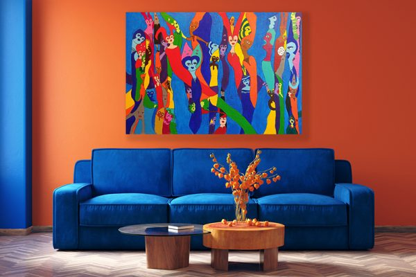 Modern home interior in trendy colors of the Year 2020, 3d rend